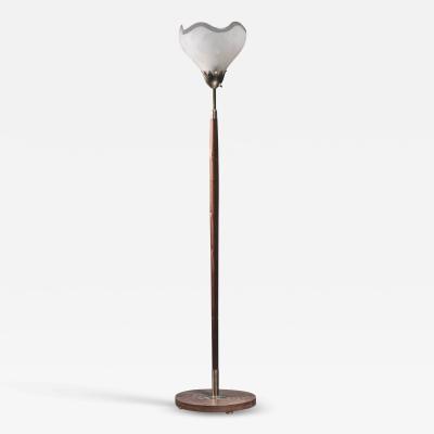 Scandinavian Modern teak and botanic motifs glass floor lamp Sweden