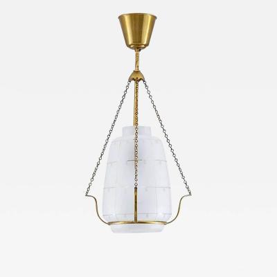 Scandinavian Pendant in Brass and Glass Swedish Modern 1940s