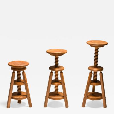 Scandinavian Pine Architect Stools 1970s