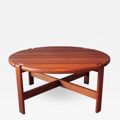 Scandinavian Round Coffee Table in Solid Teak 1970s