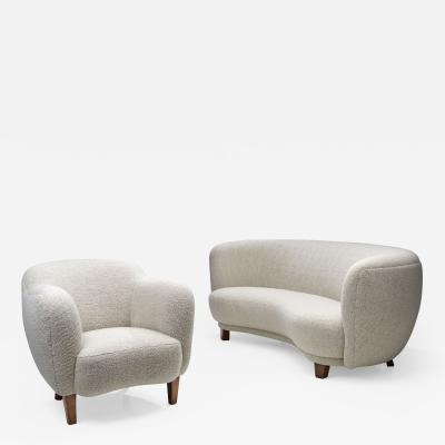 Scandinavian Set of Three seater Sofa and Armchair in Boucl Scandinavia 1950s