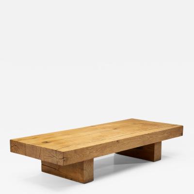 Scandinavian Solid Oak Coffee Table Sweden 1960s
