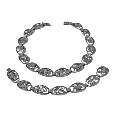 Scandinavian Sterling Necklace and Bracelet Munksgaard Denmark 20th Century