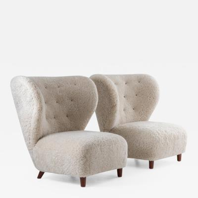 Scandinavian Wing Back Lounge Chairs in Sheepskin 1930s