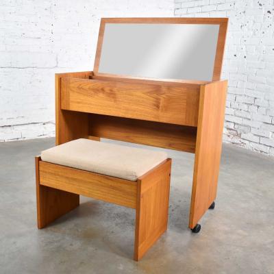 Scandinavian modern teak flip open rolling make up vanity w mirror bench