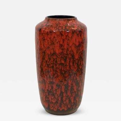 Scheurich Keramik Heavily Textural Red And Black Scale Glaze Vase