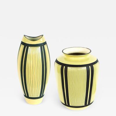 Schlossberg Keramik Two Schlossberg Keramik 1950s Pale Chartreuse Glazed Vases
