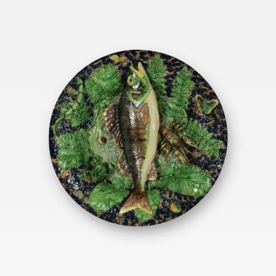 School of Paris Majolica Palissy Fish Reptile Butterfly Plate
