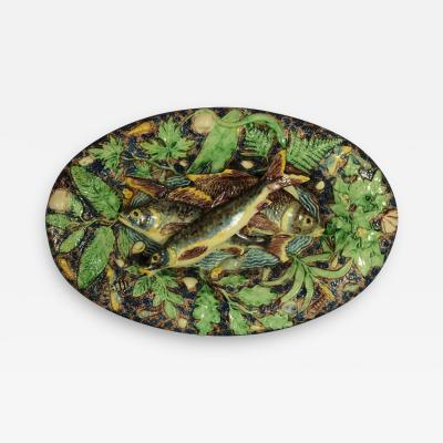 School of Paris Majolica Palissy Fish Reptile Platter