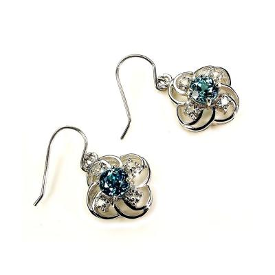 Scintillating Blue Cambodian Zircons nestled in Delicate Sterling Silver