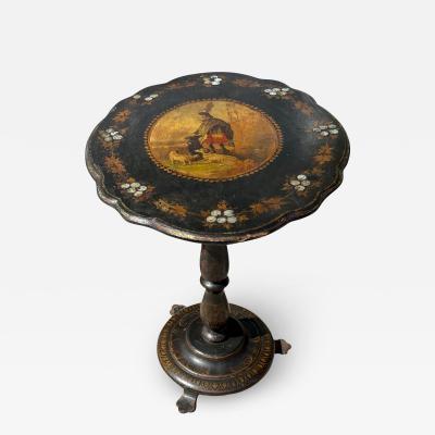 Scottish Victorian Scenic Paper Mache Tilt Top Tea Table W Dog Scotsman