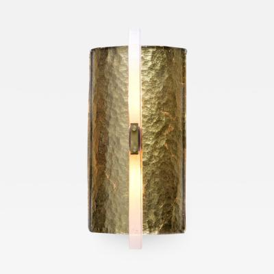 Scudo Sconce Oro Textured Murano Glass Gold Leaf and Brass Detailing