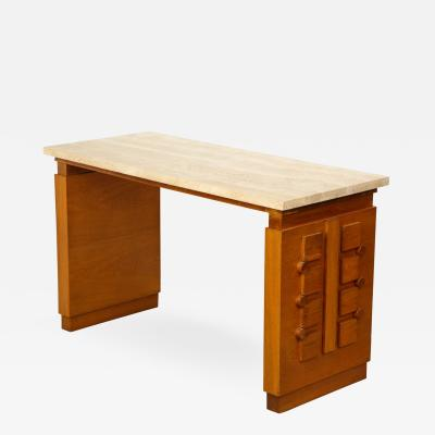 Sculpted Oak Console Desk with Stone Top France c 1950