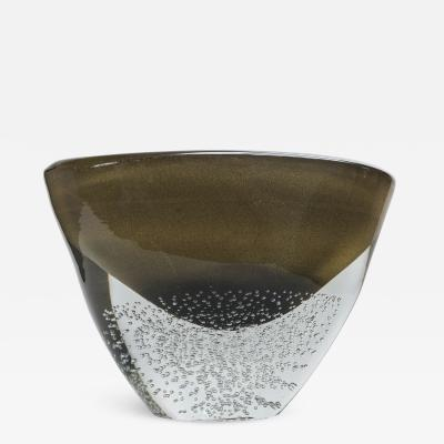 Sculptural Black and Gold Low Vase signed contemporary