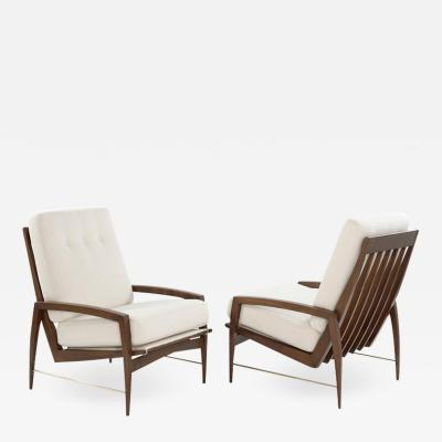 Sculptural Brass Accented Teak Lounge Chairs Denmark 1950s