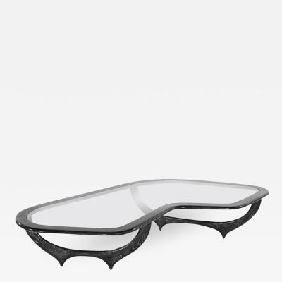 Sculptural Cerused Coffee Table Italy 1950s