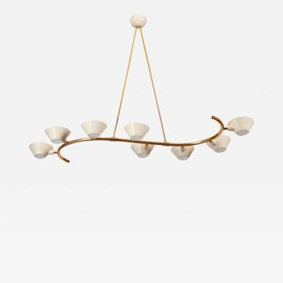 Sculptural Chandelier in Elegant S Curve Form