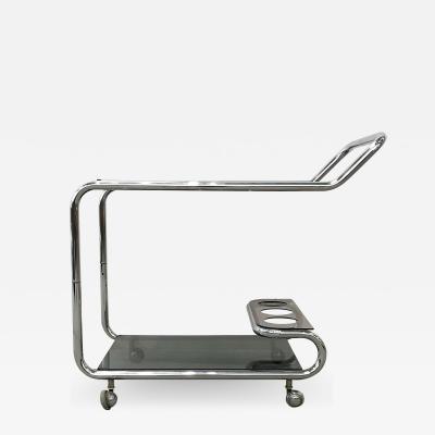 Sculptural Chromed Bar Cart