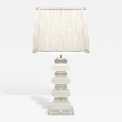 Sculptural Clear Sand Blasted Lucite block Table Lamp 1970s