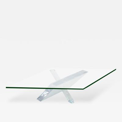 Sculptural Coffee Table in Lucite with Glass Top