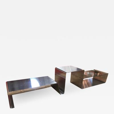 Sculptural Coffee Table made of Three Modular Glass and Chrome pieces 1970s