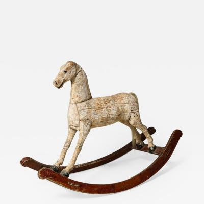 Sculptural Folk Art Rocking Horse in Original Chalk White Surface
