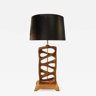 Sculptural Hand Carved Wood Table Lamp 1950s