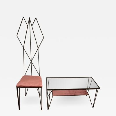 Sculptural Hight Back Chair and Side Table