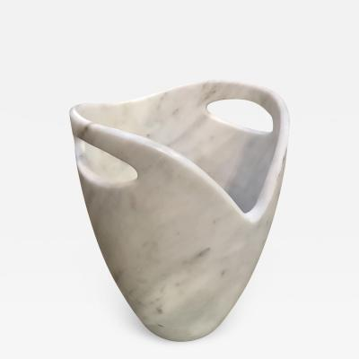 Sculptural Ice Bucket in Carrara Marble Italy