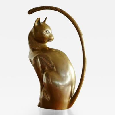 Sculptural Large Brass Cat with Huge Tail