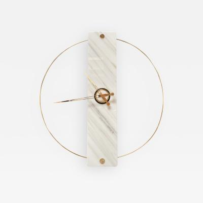 Sculptural Modern Clock 2019 with Carrara Marble and Finishes in 24 Karat Gold