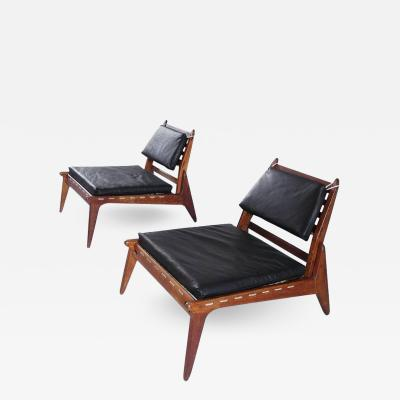 Sculptural Pair of Black Leather Hunting Chairs in Oak Germany 1950s