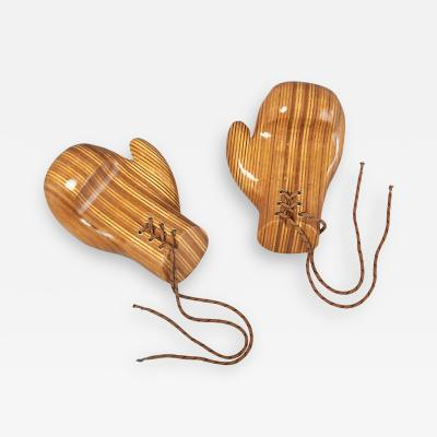 Sculptural Pair of Boxing Gloves in Polished Laminated Wood