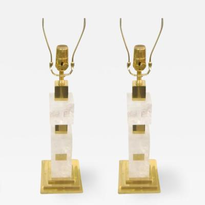 Sculptural Pair of Custom Rock Crystal and Brass Lamps
