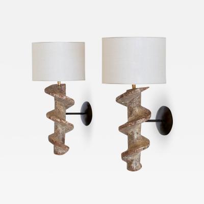 Sculptural Pair of Spiral Screw Wall Lamps in Hardwood Belgium 19th Century