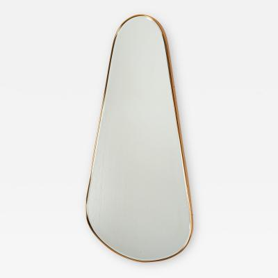 Sculptural Tear Drop Brass Mirror Italy 1950s