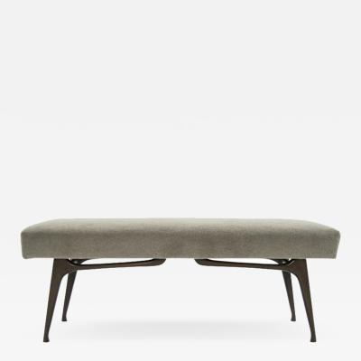 Sculptural Walnut Bench in Mohair Italy 1950s