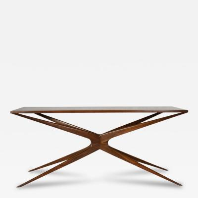 Sculptural Walnut Gazelle Console Table