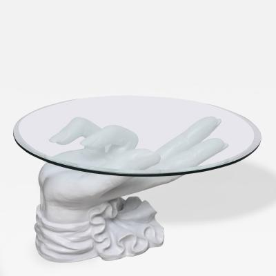 Sculptural White Plaster Hand Coffee Table