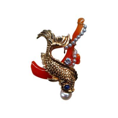 Seaman Schepps Seaman Schepps Gold Stone Fish Pin