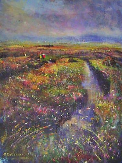 Seamus Coleman Irish Oil on Canvas of Clifden Bog by Seamus Coleman