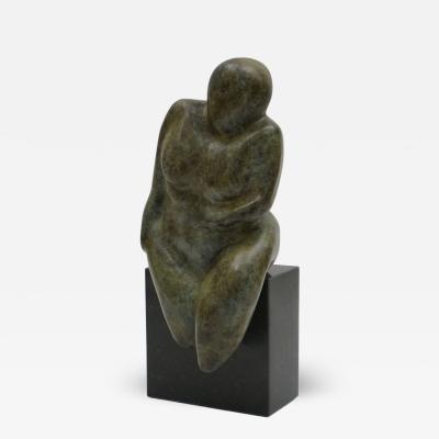 Seated Solid Bronze Female Nude Sculpture on Stone Cube Base