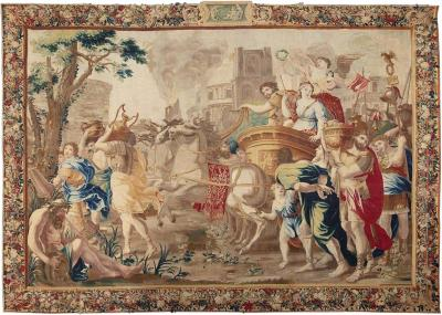 Second Half 17th Cent Brussels Tapestry of Marc Antony and Cleopatra Wool Silk