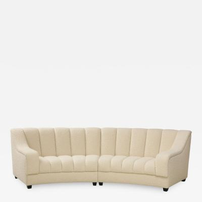 Segmented Curved Sofa in the Style of De Sede in Ivory Boucle Italy