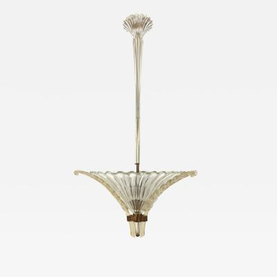 Seguso Fluted Glass Chandelier