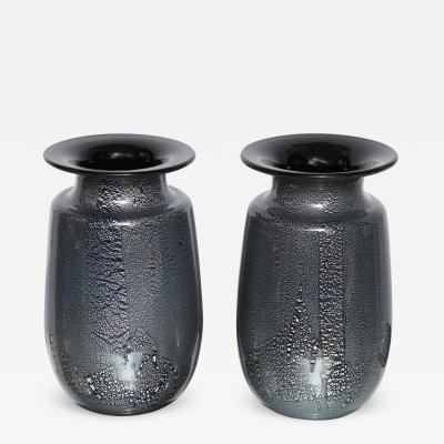 Seguso Vetri d Arte Seguso Vetri DArte Siver Leaf Black Blue Glass Vases
