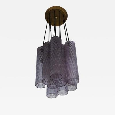 Seguso Vetri d arte Italian Translucent Purple Murano Glass Column Pendant or Chandelier