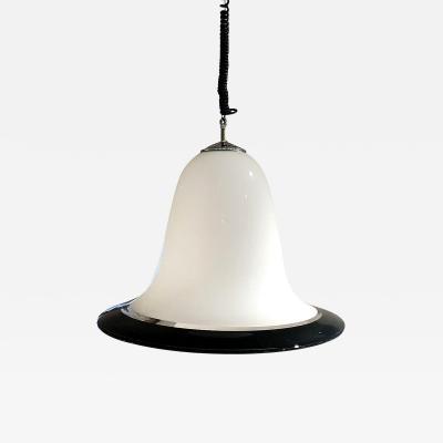 Seguso Vetri d arte Mid Century Modern Seguso Murano Glass White Black Pendant Chandelier 1960s