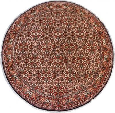 Semi Antique Round Circular Red Brown Navy Blue Ivory Floral Persian Bijar Rug