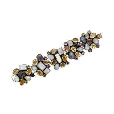 Semi Precious Stones Set in Sterling Silver Bracelet